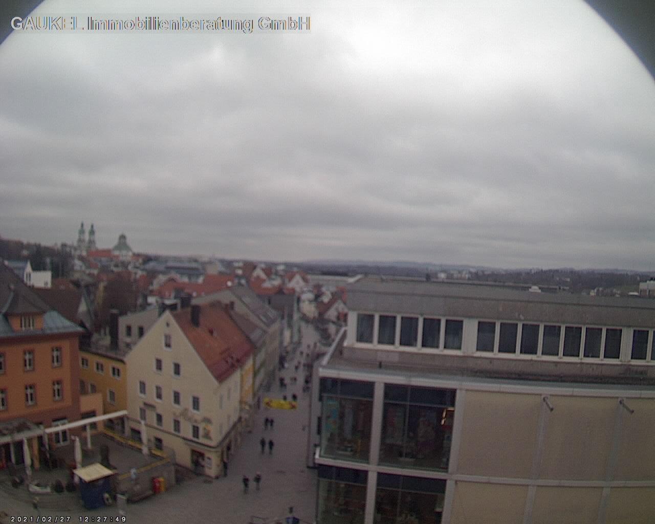 Webcam der Fußgängerzone Fischerstraße und Skyline Kemptens